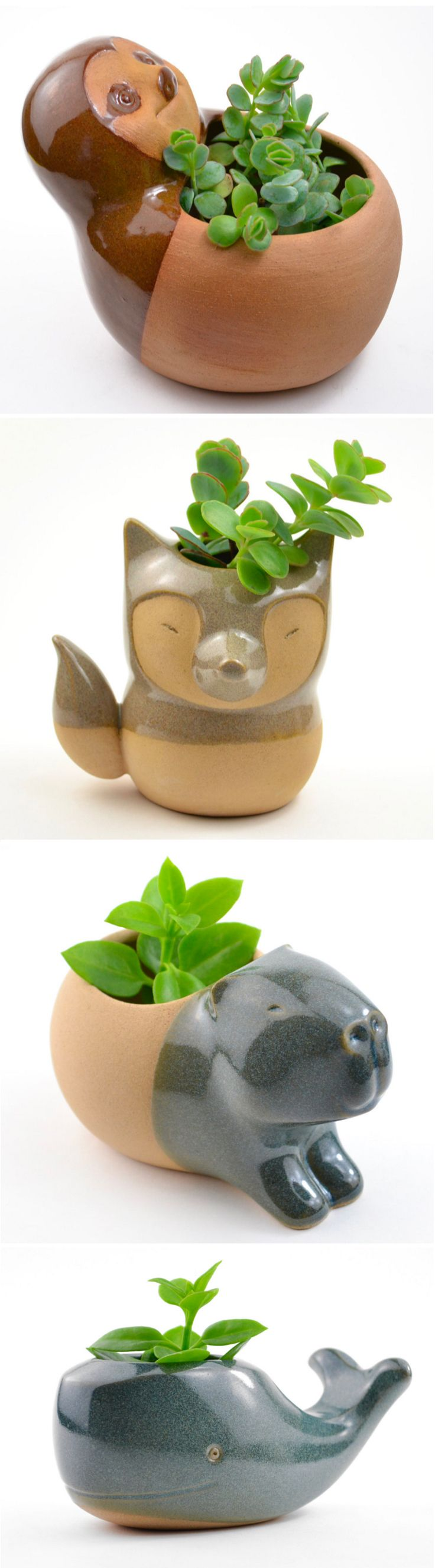 CumbucaChic has a wide selection of adorable ceramic animal planters that will…