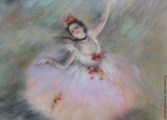 """Купить Картина шерстью """"Балет"""" свободная копия с картины Э. Дега. - разноцветный, пастельные тона"""