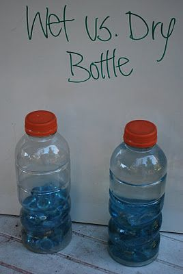 Dry vs wet bottle. These are really a science project. They are all about making observations and hypothesis. There are a bunch of ideas for variations. Let me know if you think of more i would love to add more ideas to the list