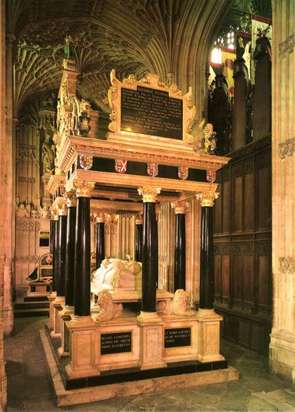 Quite Fascinating,  The tomb of Queen Elizabeth I (daughter of Anne Bolyn) is  shared with her half sister Queen Mary I (daughter of Katherine of Aragon). Both were daughters of Henry VIII.  Westminster Abbey, London.