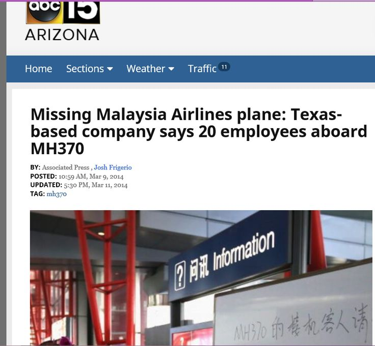 Missing Malaysia Airlines Plane: Texas Based Company Says 20 Employees  Aboard MH370 **