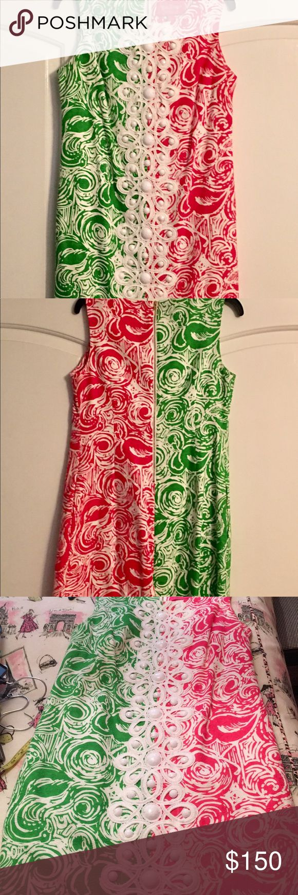 """Dress Lilly Pulitzer Jubilee lined embroidered with large beads down the front! Two front side hidden pockets 35"""" long!! So cute and ready for your summer vacation! Hot pink and green! Worn only a few times great condition! Lilly Pulitzer Dresses Mini"""