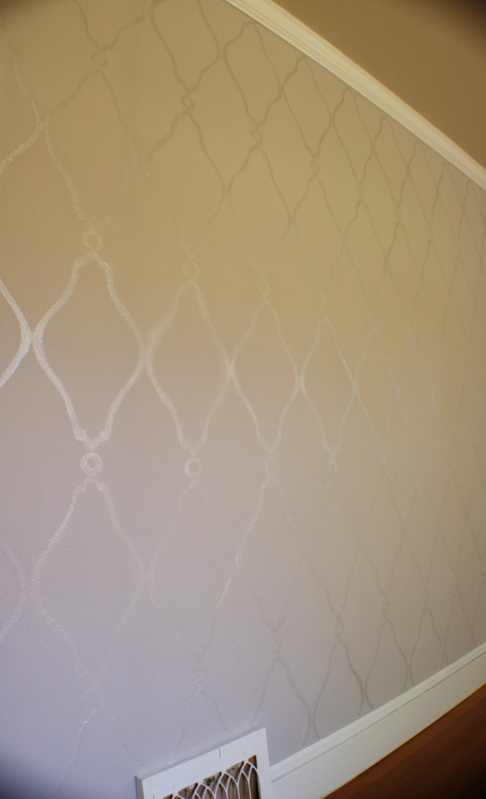 Gloss on eggshell wall paint pattern - did this in a vertical stripe pattern in Abby's room - would like to do an argyle pattern in master bedroom