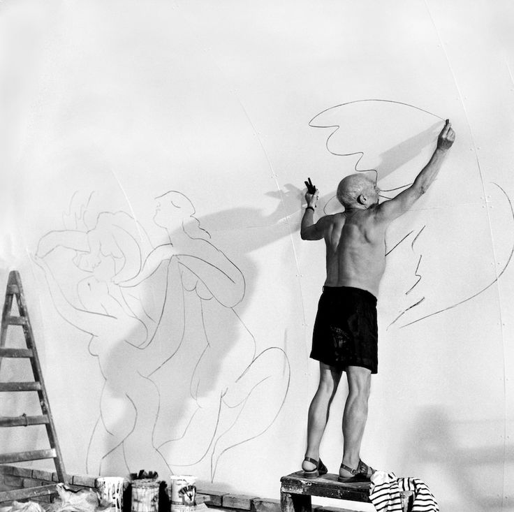 "Picasso working in the "" Chapelle de la Paix"", Vallauris 1953 by ©Edward Quinn"