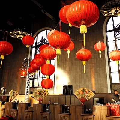 Idea to use the giant balloons in place of lanterns..Celebrity Wedding: Lisa Ling & Paul Song  The Reception Decor -New York City event planner J.B. Miller of Empire Entertainment hung bright red Chinese lanterns, purchased from an L.A. Chinatown shop, over the dance floor