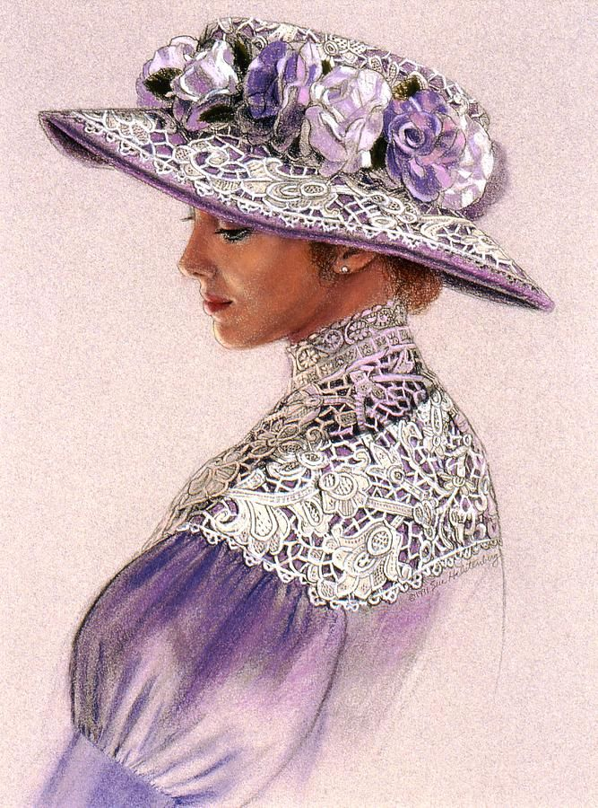 """Paintings: """"Victorian Lady in Lavender Lace,"""" by Sue Halstenberg. --images.fineartamerica.com--"""
