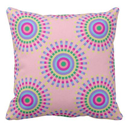 CHIC FUN PILLOW_COOL PASTEL SUNBURST GEOMETRIC THROW PILLOW - fun gifts funny diy customize personal