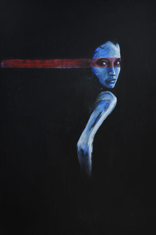 painting by Tomasz Machoń 80x120cm acrylic woman girl art blue dark
