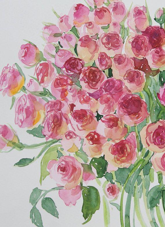 Roses Original Watercolor art painting 118 x 158 in by OlgaHengst