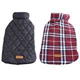 Kuoser Cozy Waterproof Windproof Reversible British style Plaid Dog Vest Winter Coat Warm Dog Apparel for Cold Weather Dog Jacket for Small Medium Large dogs with Furry Collar (XS - 3XL ),Red XL