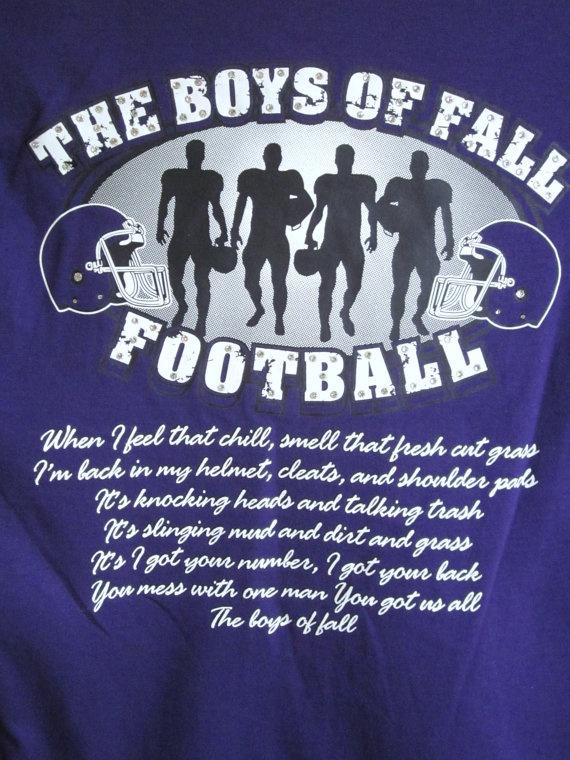 Bling The Boys of Fall Football Purple TShirt by Blingitonme, $32.00