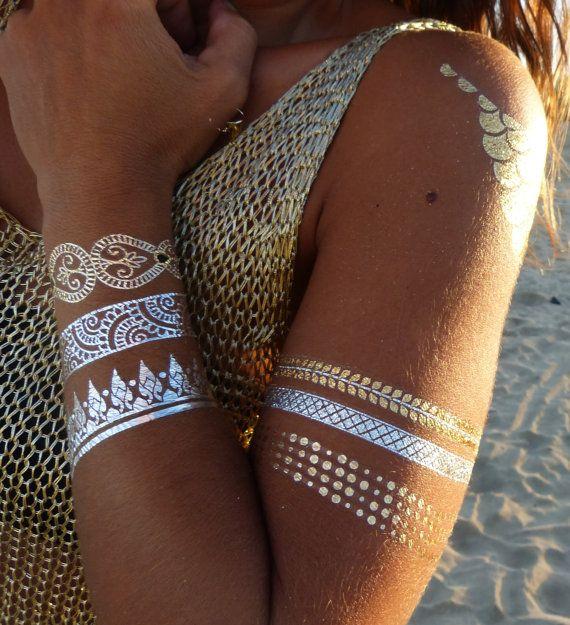 Nr. 1 Premium Temporäre Tattoos || GOLD, SILBER, SCHWARZ || Metallic Schmuck…