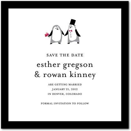 Signature White Textured Save the Date Cards Precocious Penguins - Front : Black