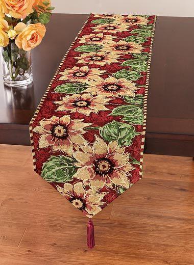 Sunflower Tapestry Table Runner Zoom In
