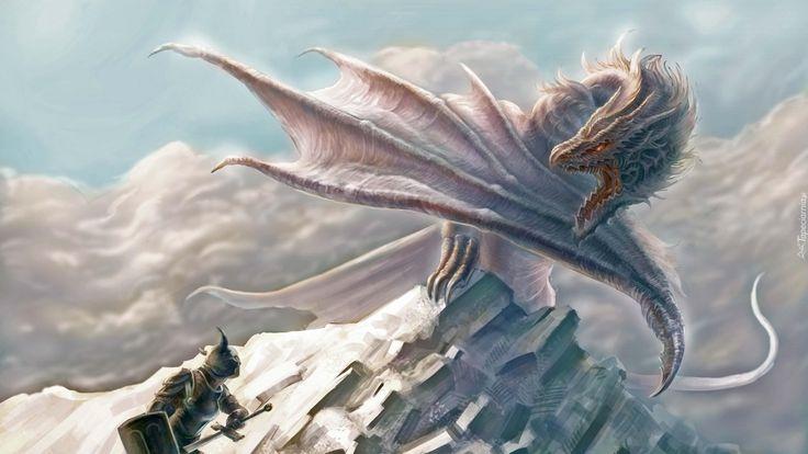 Edycja Tapety: Fantasty, Zima, Śnieg, Góra, Niebo, Smok, Biały, Rycerz