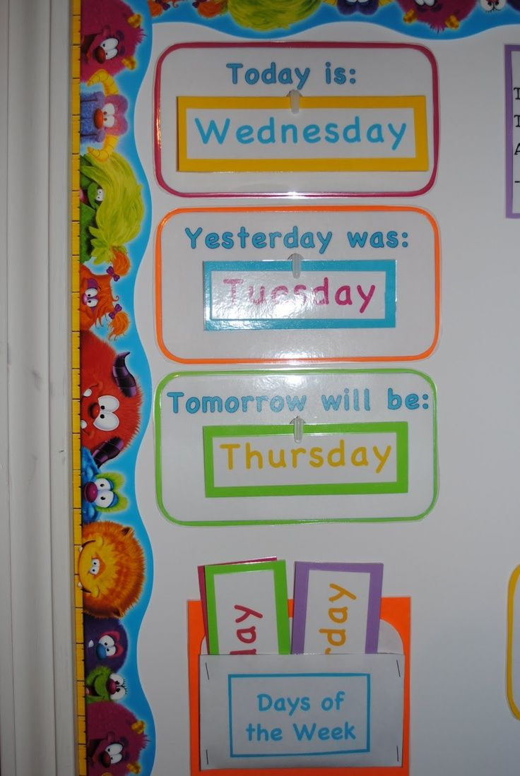 "First we have our ""Today is..."", ""Yesterday was..."", ""Tomorrow will be..."" section. This reinforces the days of the week, their order, etc."