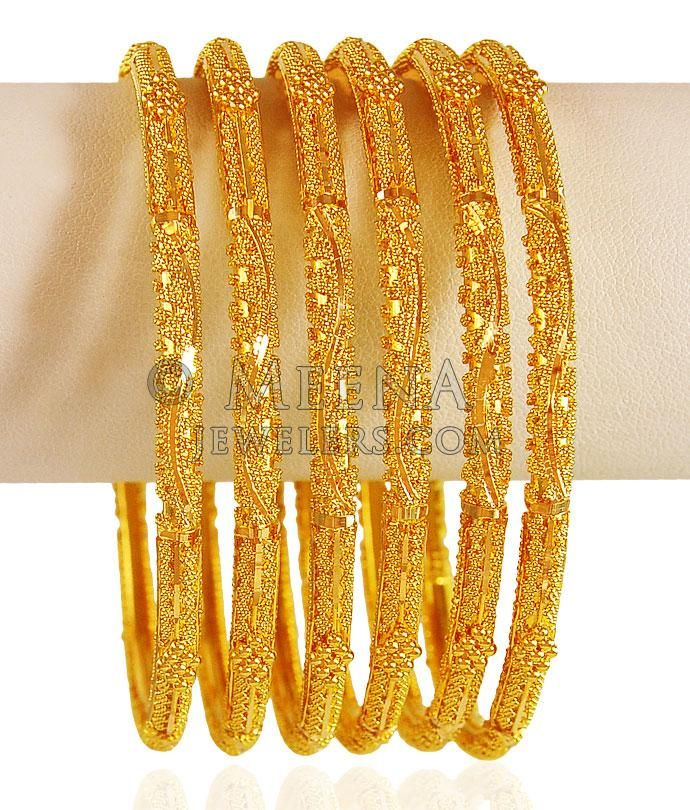 22kt Gold Bangle Set (2Pcs) ( Set of Bangles )