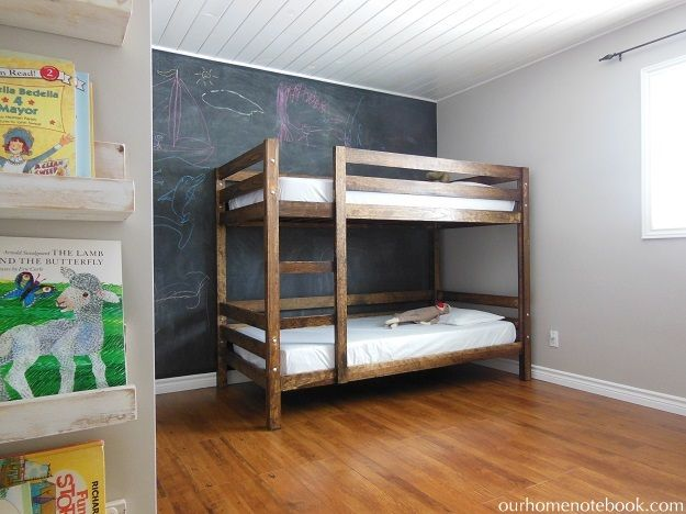 @Shannon | Our Home Notebook built a bunk bed... and it's stunning. I also love the use of the chalkboard wall in this bunk bedroom! /ES