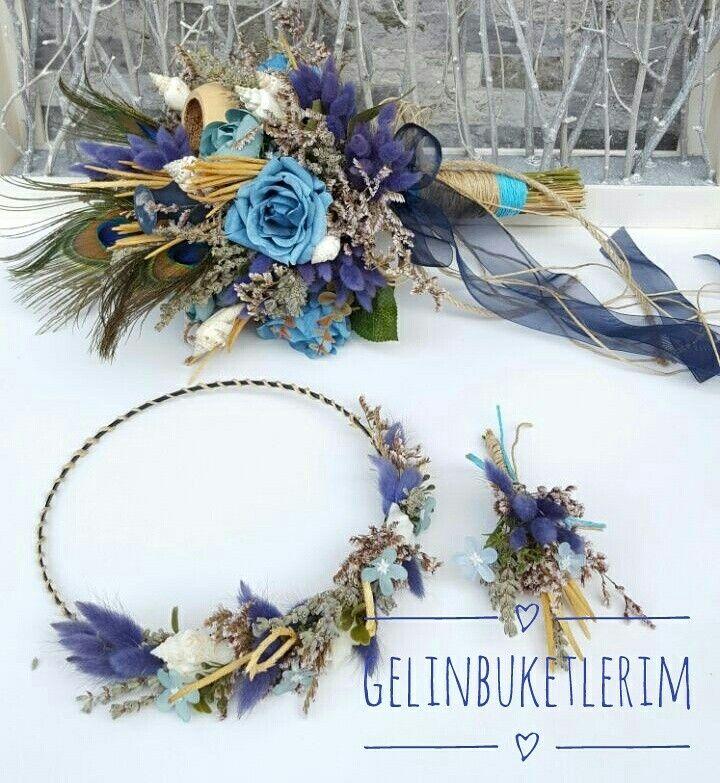 Kuru çiçekli gelin buketi seti Bohem tarzı  İletişim için 05453768273den ulaşabilirsiniz  www.gelinbuketleri.com