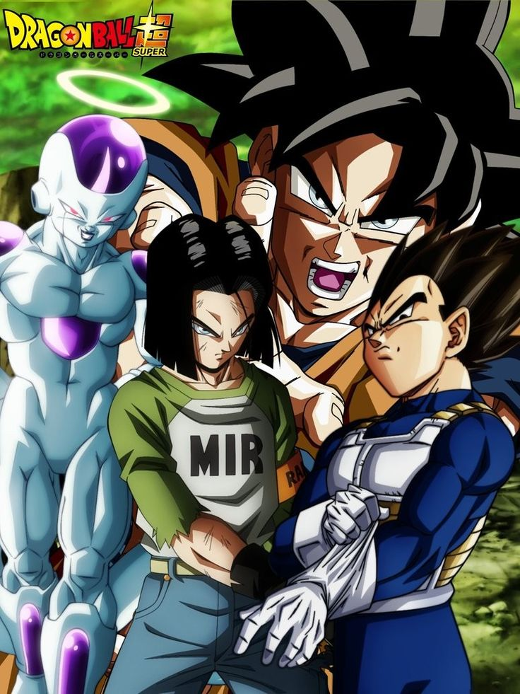 Frieza, Goku, Android 17, and  Vegeta