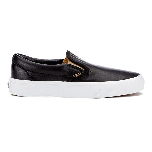Vans Women's Classic Slip-On Metallic Trainers - Black/Gold (965.060 IDR) ❤ liked on Polyvore featuring shoes, sneakers, black, black skate shoes, vans sneakers, slip-on shoes, black shoes and black slip-on sneakers