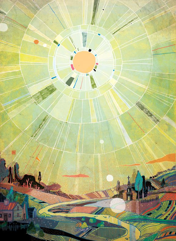 Illustrations by Victo Ngai | Cuded. The light in this image is amazing, it really radiates out from the sun. I think this happens because of the oblong blocks of colour coming out of the sun and the hills sloping upwards and out.