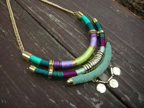 Native inspired bohemian necklace tribal statement by tashtashop