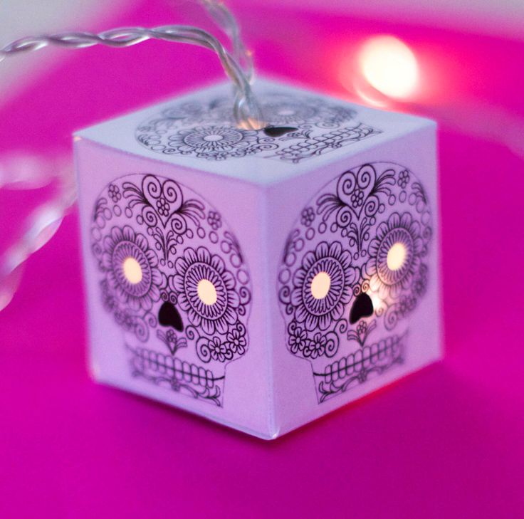 Sugar Skull fairy lights string of lights LED lit lanterns fairy lights colour in your own way for bedroom or nursery by GabitatEmporium on Etsy https://www.etsy.com/listing/248077109/sugar-skull-fairy-lights-string-of