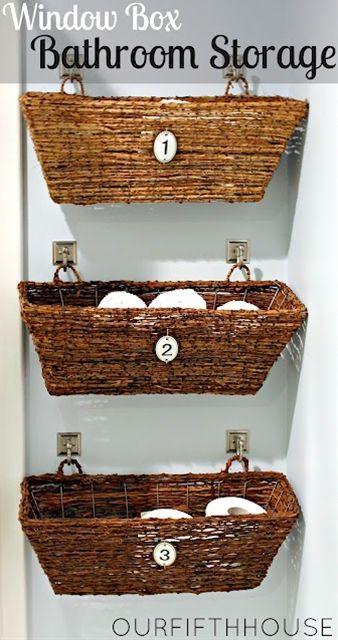 Our Fifth House: Window Box Bathroom Storage (perfect for a small bathroom)