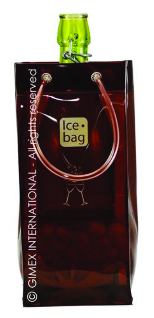 4207 Icebag Basic Chocolate Brownie  Product Description  Made from durable PVC plastic, the Ice Bag® is water tight, light weight, flexible and folds flat for easy storage. Small and easy to carry – saves table space and goes anywhere with your bottle Original, trendy and suitable for every occasion all year Economical – it chills faster than a traditional ice bucket Retail Packaging Colour: Chocolate Brownie