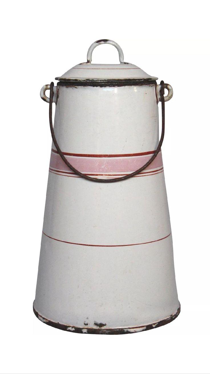 Pink stripe French enamelware milk pail