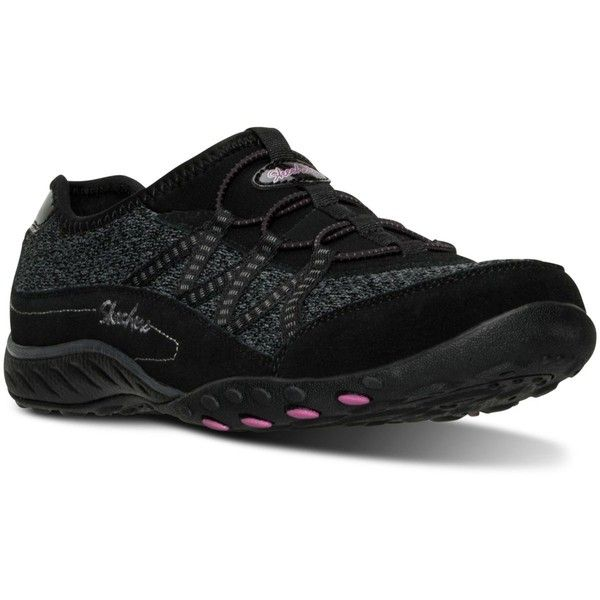 Skechers Women's Relaxed Fit: Road Trippin Casual Walking Sneakers... ($40) ❤ liked on Polyvore featuring shoes, sneakers, black, kohl shoes, black walking sneakers, skechers sneakers, skechers trainers and black shoes
