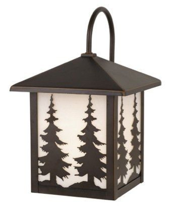 """Yellowstone 8"""" Outdoor Wall Lantern in Burnished Bronze by Vaxcel. $94.05. PRODUCT: 1 Light Rustic Medium Tree Motif Outdoor Lighting Wall Lamp Fixture. COLLECTION: Yellowstone Outdoor. WATTAGE: 1 x 100 Watt Medium Base Bulb. FINISH: Burnished Bronze; SHADE: White Tiffany Glass. DIMENSIONS: 8 in. W x 12.5 in. H x 9 in. Ext., Ht center of mount to top=8.5 in.. OW33483BBZ Features: -8'' Outdoor wall lantern.-White tiffany glass. Color/Finish: -Brushed bronze finish...."""