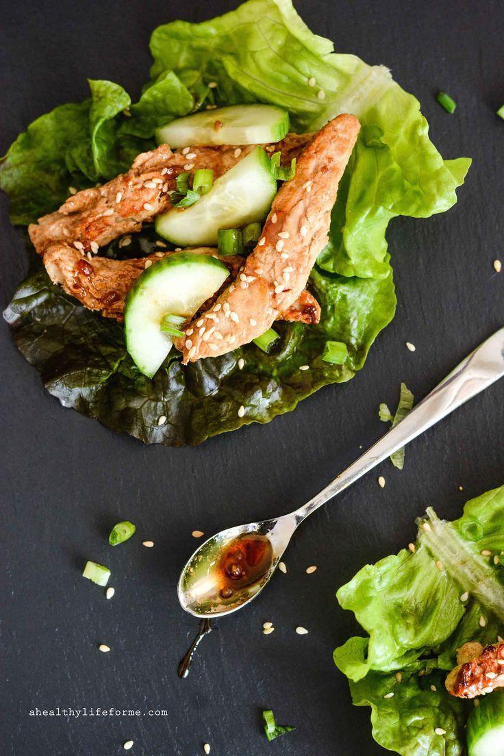 Teriyaki Chick'n Strip Lettuce Wraps - A Healthy Life For Me