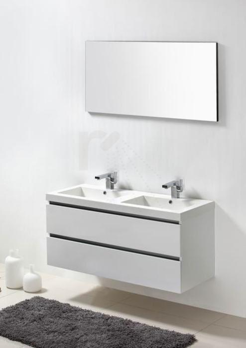 € 849,- Lambini Designs Trend Line badmeubel - Hoogglans wit - 120x47x56cm - 2 kraangaten incl. spiegel, ook leverbaar in hoogglans antraciet #strak #greeploos #meubel #badkamer