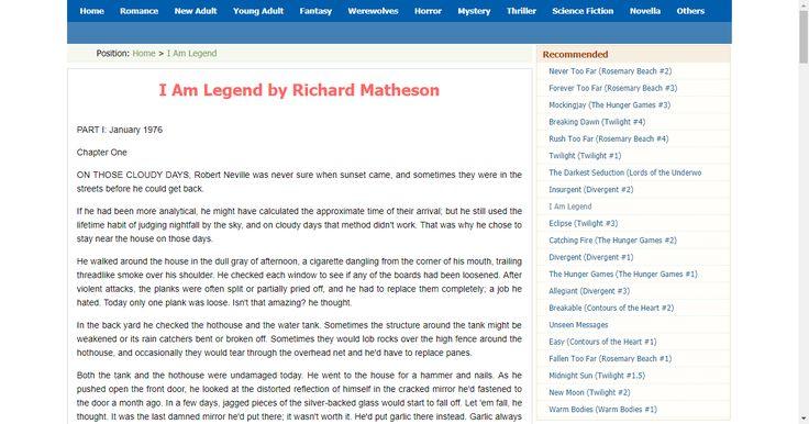read I Am Legend online free by Richard Matheson
