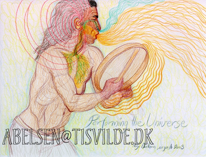 """""""Performing the Universe"""" (Greenlandic shamanism) Colour pencil by Naja Abelsen. www.najaabelsen.dk (original sold) Available as A3-photoprint 400 DKK / 54 Euro."""