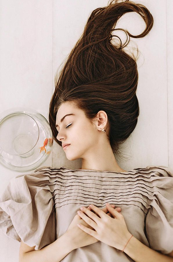 Russian Artists New Wave Photograph - Night Dream. Series Escape Of Golden Fish  by Inna Mosina  #RussianArtistsNewWave #InnaMosina #Woman #StagePhotography