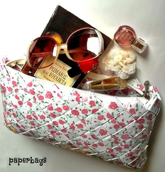 Handmade Oversized White Floral PaperBag with Pink Vintage Blossoms