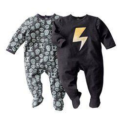 Lote de 2 pijamas com pés, em moletão