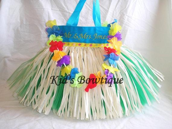 Monogrammed Aqua Luau Hula Grass Skirt Tutu Bag by kidsbowtique, $36.95