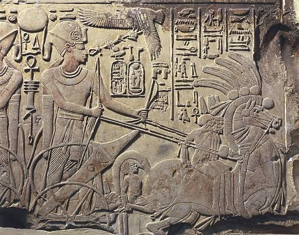 Egypt, Valley of the Kings, relief of Amenhotep III on horse chariot