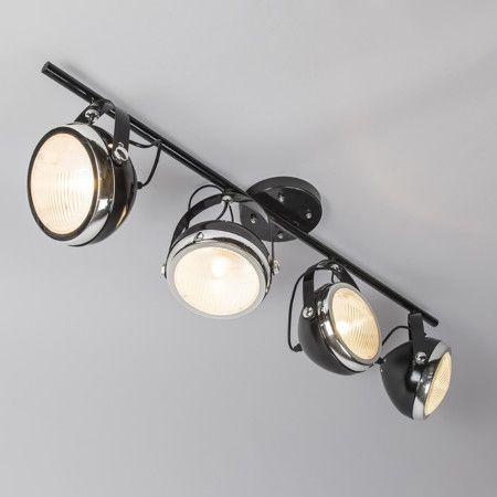 Plafond strålkastare 'Biker 4' Retro svart/metall - Passande för LED / Inomhus