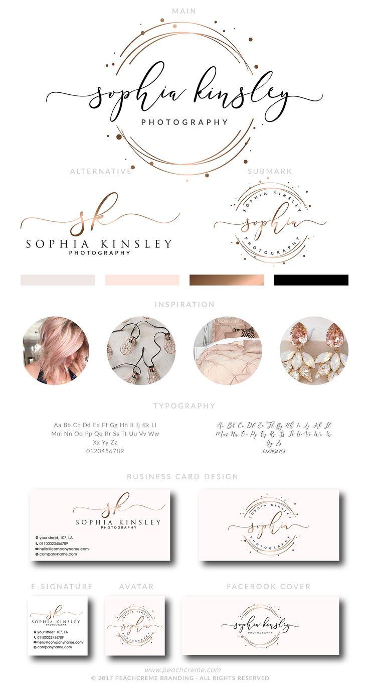 Rose Gold Logo Design,  Rose Gold Branding kit, Premade Branding Kit,Rose Gold  Business Card Design, Circle Logo, Stamp Logo, Calligraphy by PeachCreme