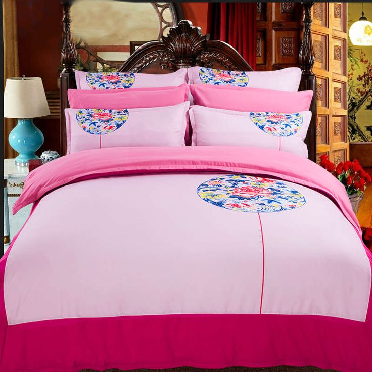 tradition flower Victoria pink nation Chinese eastern classic bedding bed linen sets twin full queen king duvet comforter cover #Affiliate