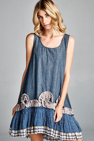 Ruffle Bottom Denim Dress