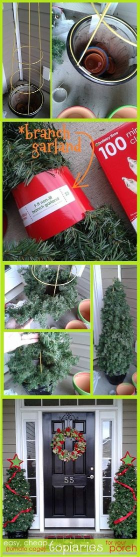 how to make easy DIY tomato cage Christmas trees... Just in time since I was just wondering what to do with my pots now my flowers died.: