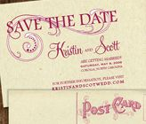 "FREE DIY wedding template printables ... like this ""save the date"" swirl postcard."