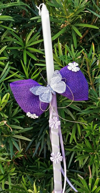 Purple burlap butterfly easter candle $25