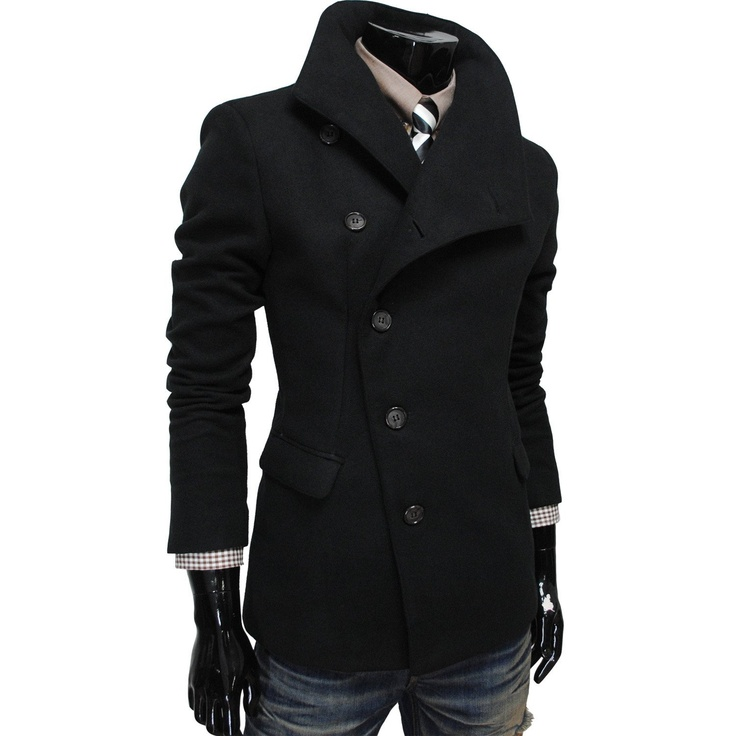 TheLees Mens Unbalance High Neck Slim PEA Coat Jacket: Clothing I like this  for Kris.